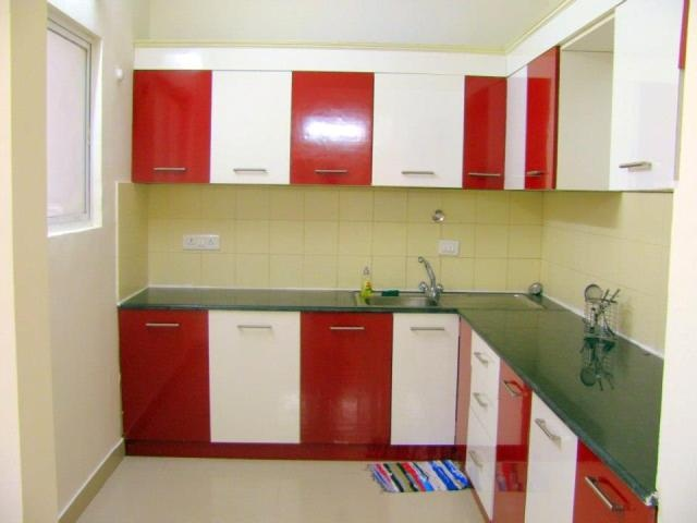 red modular kitchen